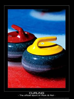 Rare CURLING Poster -  Official Sport of Rock and Roll  - Motivational Print
