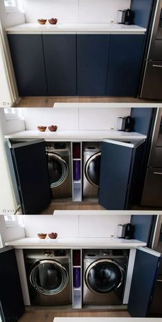 laundry room design ideas that are clever and space-saving ., # space-saving laundry room design ideas that are clever and space-saving ., laundry room design ideas that Outdoor Laundry Rooms, Small Laundry Rooms, Laundry Room Design, Laundry In Bathroom, Outdoor Rooms, Laundry In Kitchen, Laundry Area, Laundry Cabinets, Laundry Room Shelves