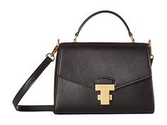 Tory Burch Women's Juliette Top Handle Satchel Handbag Black Leather