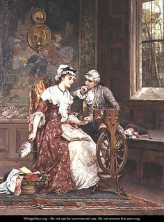 """""""Awaiting an Answer"""", by Laslett John Pott (British, 1837-1898). Aristocratic ladies used a pinning wheel to relax and spin flax or wool."""