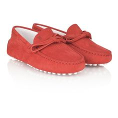 Tods Red Leather Moccasin Shoes