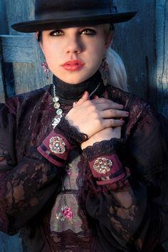 Steampunk Renegade Cuffs in Merlot and Black Stripes