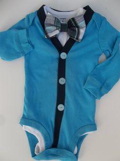 Baby Boy Bowtie Cardigan Navy Plaid for a by groovyapplique