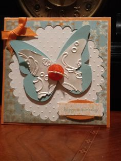 Butterfly card using Big Shot Dies and embossing folders