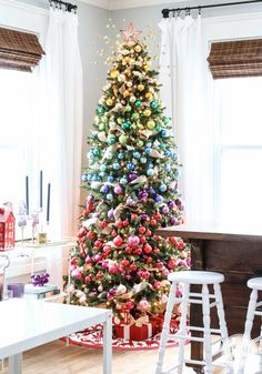 A Colorful Christmas Tree {and I adore the tree skirt}