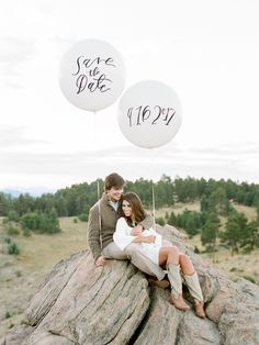 Love this save the date idea with big balloons and custom calligraphy! Photos by Rachel Havel