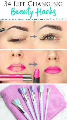 34 Best Makeup Hacks You asked for it, so here are my 34 best make-up hacks. For the third part, I have 13 fantastic beauty hacks to try. My original tips and tricks for make-up. The second installment is 11 more useful beauty hacks. Best Makeup Tips, Makeup Hacks, Best Makeup Products, Eyeliner Hacks, Beauty Products, Makeup Trends, Hair Hacks, Latest Makeup, Makeup Ideas