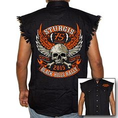 Biker Life USA Men's 2015 Sturgis Orange Skull Cutoff Denim http://bikeraa.com/biker-life-usa-mens-2015-sturgis-orange-skull-cutoff-denim/