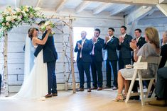Birch arbor with white and pink flowers for a July wedding. Picture Perfect Wedding at The Round Barn - Floral Artistry. July Wedding, Spray Roses, Chuppah, Perfect Image, Bridesmaid Dresses, Wedding Dresses, Beautiful Moments, Vermont, Perfect Wedding