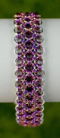 Sterling Silver and Plum Japanese Lace MicroMaille by DaisiesChain