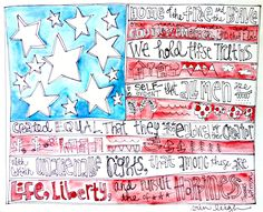 Art by Erin Leigh: American Flag Art Love for you