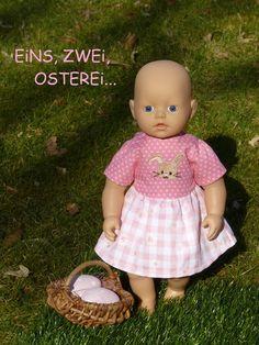 """Puppenkleidung - """"Eins,zwei,Osterei...""""  2tlg Set Gr. 30-35 cm - ein Designerstück von handgeschick bei DaWanda"""