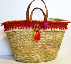 Large Boho Shopping / Beach Basket Braided with Pompom by MariZoli