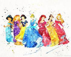 Disney Seven Princesses Print - New Ideas Disney Kunst, Arte Disney, Disney Art, Disney Pixar, Disney Characters, Princess Drawings, Princess Art, Watercolor Disney, Watercolor Print