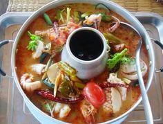 Thai food.Seafood in spicy soup.