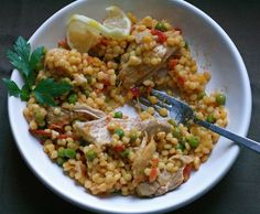 """Chicken and Israeli Couscous with Tomato and Lemon.  recipe by Martha Stewart Living.  Photo by """"the bitten word""""."""