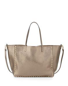 V2VL3 Valentino Rockstud Reversible Tote Bag, Pewter/Gold