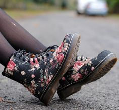 Floral print boots fav