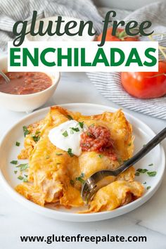 Gluten-Free Enchiladas that are easy to make and require minimal ingredients. You are going to love this gluten-free enchiladas recipe once you see how simple it is. Recipes With Enchilada Sauce, Homemade Enchilada Sauce, Homemade Enchiladas, Chicken Enchiladas, Gluten Free Enchiladas, Gluten Free Tacos, Gluten Free Tortillas, Easy Gluten Free Desserts, Gluten Free Sides Dishes