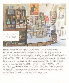 Minette's Vintage // Frankie Magazine, Burnley, Vintage Shops, Melbourne, Vintage Outfits, Decorations, Gifts, Shopping, Design