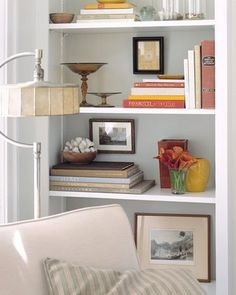 Ahhhh.... light & airy bookshelves provide space for the eyes to breathe. I need to lighten up my bookshelves