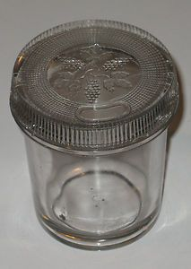 1890's Jelly Glass with Glass Cover Grapes Leaves Design Fruit Canning Jar