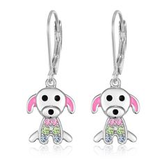 Dog Leverback Earring with Swarovski Elements - Shop the Exclusive collection of leverback earrings for toddlers on great deals at Chanteur - Leading Kids Jewelry Store. To Shop Visit : https://chanteurdesigns.com/collections/earrings/products/dog-leverback-earring-with-swarovski-elements