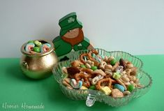 Lucky Mix Recipe:  ■2 cups Lucky Charms cereal   ■1 cup Cinnamon Toast Crunch  ■1 cup Honey Nut Cherrios  ■1 cup Mixed Nuts or Peanuts  ■1 cup Green Skittles or M's  ■1 cup Pretzels