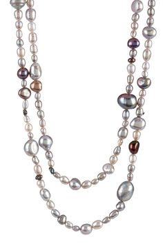 "$249   - 50  About This Item  - Multi-shaped grey freshwater pearl endless necklace  - No clasp -- style slips over head  - Approx. 72"" length  - Approx. 6-9mm pearls  - Made in USA    Materials    Freshwater pearls"