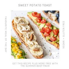How good does this Sweet Potato Toast look! 😍✨ . You can find this recipe in our Summer Ready 4 Week Guide! Don't forget that our guide comes FREE when purchasing the Summer Body Pack! 👩🍳 🙌 . .  www.uniquemuscle.com.au Healthy Eating Habits, Healthy Tips, Toasted Potatoes, Sweet Potato Toast, Macro Meals, Workout Guide, Nutrition Plans, Gluten Free Recipes, Free Food