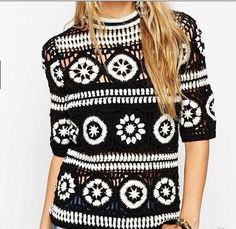 Women's Dresses, Dress Outfits, Girl Outfits, Crochet Blouse, Crochet Top, Pullover Mode, Crochet Fashion, Vintage Sweaters, Sweater Fashion
