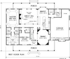 The Hickory Ridge House Plan #916 - First Floor Plan