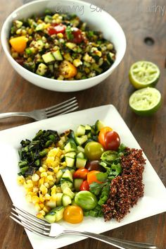 quinoa salad chipotle barley salad with corn zucchini and radishes