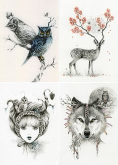 Owl, deer, girl, wolf - illustration