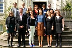 Crown Princess Mary met with Danish recipients of the Crown Princess Mary Scholarship at Frederik VIII's Palace on September 2, 2015 in Copenhagen, Denmark.