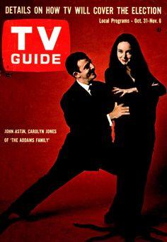 TV Guide, October 31, 1964 — John Astin & Carolyn Jones as 'Gomez & Morticia' in The Addams Family (1964-66, ABC)