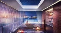 Underwater villas with unique view and privacy, let you sleep with the fishes, in Dubai. The Floating Seahorse villas is a truly unique underwater project… Underwater Bedroom, Underwater House, Dubai Hotel, Dubai Uae, Jacuzzi, Villas, Luxury Houseboats, Sleep With The Fishes, Heart Of Europe