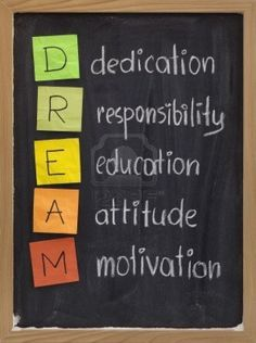 dedication, responsibility, education, attitude, motivation - DREAM acronym explained on blackboard with color sticky notes and white chalk handwriting Stock Photo Educational Quotes For Students, Education Quotes For Teachers, Education Related Quotes, Teaching Quotes, Educational Leadership, Primary Education, Educational Technology, Special Education, Positive Quotes