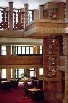 "Frank Lloyd Wright, ""Imperial Hotel"", 1923, depicting the hotel lobby designed in Maya Revival Style of poured concrete and carved stone, Tokyo, Japan."