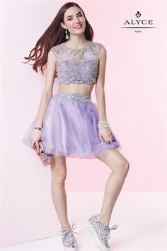 Alyce 4435 Short Beaded Lilac Two Piece Homecoming Dress 2015