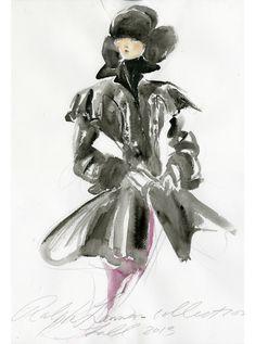 Croquis de Ralph Lauren pour sa collection automne-hiver 2013-2014