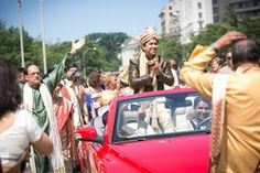 Groom in Covertible During Baraat    Photography: Premack Weddings   Read More:  http://www.insideweddings.com/weddings/dual-ceremony-with-indian-and-western-traditions/758/