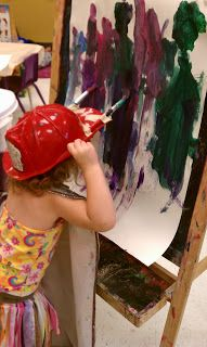 Painting With Hats - wonderful inclusive art activity- THis would be so fun with community helpers unit! Community Helpers Activities, Community Workers, Community Jobs, Messy Art, Art Easel, Preschool Activities, Easel Activities, Nursery Activities, Space Activities