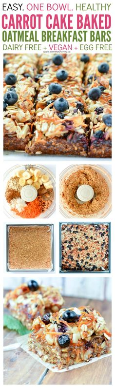 Carrot Cake Oatmeal Breakfast Bars are super easy and healthy. A 10 minutes blender recipe vegan full of plant based protein from almonds flaxseeds oats almond butter and sweet banana and blueberry. A great homemade on-the-go breakfast bar. Best Breakfast Bars, Oatmeal Breakfast Bars, Heathy Breakfast, Blueberry Breakfast, Breakfast Cake, Breakfast Ideas, Vegan Sweets, Vegan Desserts, Vegan Recipes