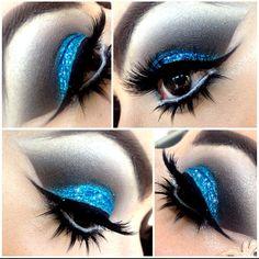Blue glitter cut crease @chubbymuffin_