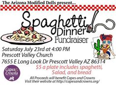 Don`t forget The Modified Dolls - Arizona Chapter are holding their Spaghetti Dinner ‪#‎Fundraiser‬ tomorrow in aid of Capes & Crowns Foundation. 🍝 :) ‪#‎ModifiedDolls‬ ‪#‎Arizona‬ ‪#‎AZdolls‬ ‪#‎NonProfit‬ ‪#‎fundraising‬ ‪#‎SupportingCharities‬ ‪#‎SpaghettiDinner‬ ‪#‎DifferentMakingADifference‬