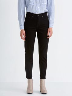 4140494160d8 $79.50 | The Stevie High-Waisted Tapered Jean in Rinsed Black Tapered  Jeans, Ankle