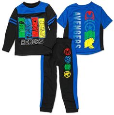 Shop Boys 3 Pc Avenger pant Set - Blue at Burkes Outlet, more brands, and big savings. Kids Boys, Baby Kids, Comic Clothes, Avengers Characters, Baby Box, Clothing Logo, Nightwear, Marvel Comics, Long Sleeve Tops