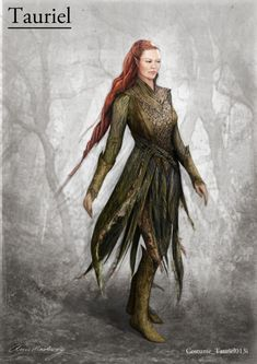 #Tauriel costume concept art for The Desolation of Smaug by designer Anne Maskrey. #TheHobbit #EvangelineLilly