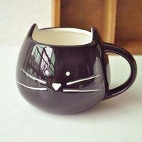 Black And White Zakka Lotion Coffee Cup Cat Animal Milk Cup Ceramic Lovers Mug Cute Birthday gift
